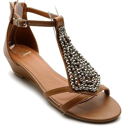 7383e7f3edbb2 Ollio Women s Shoe Gladiator Flat Silver Bead Accent Wedge Multi Color  Sandal(6 B(