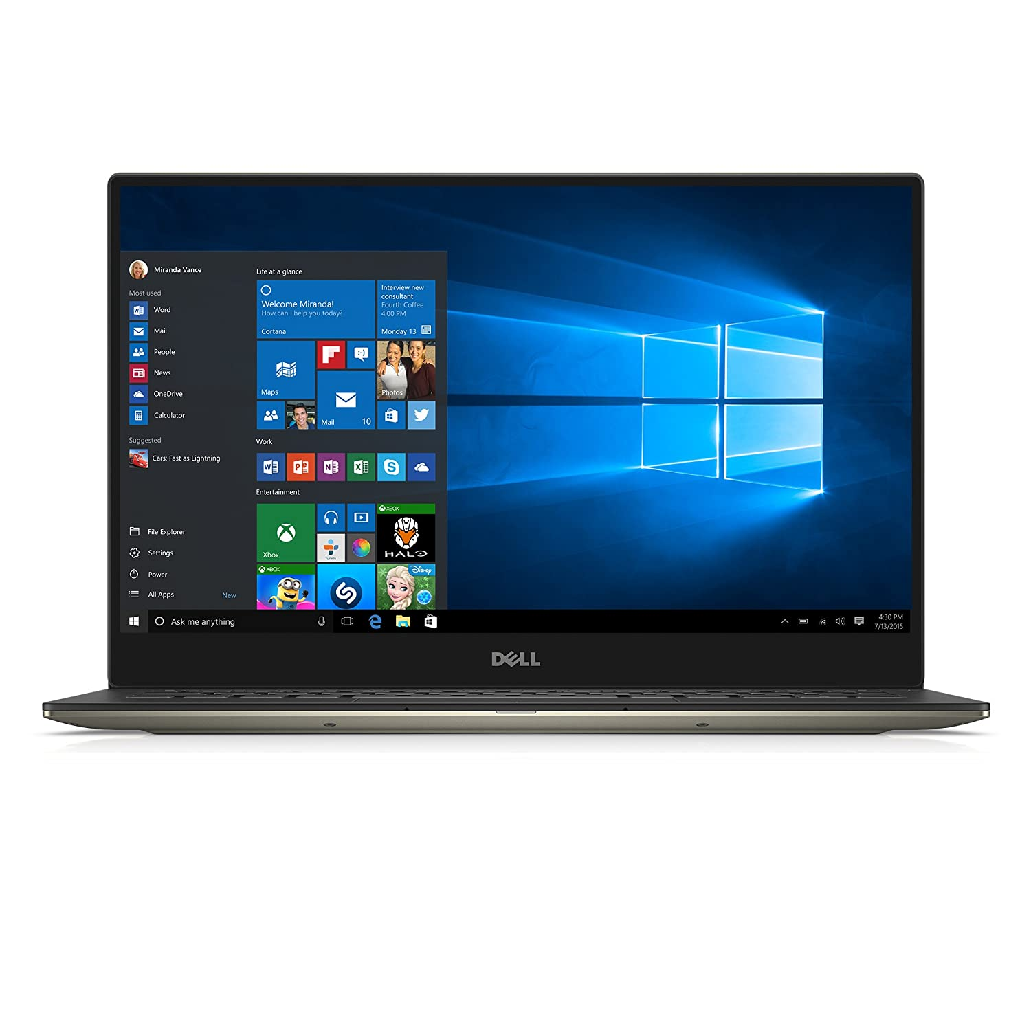 Dell | XPS 13 XPS9350-5342GLD 13.3-Inch QHD+ Touchscreen Laptop | 6th Generation Intel Core i7, 8 GB RAM, 256 GB SSD, Win 10, Microsoft Signature Image | Gold
