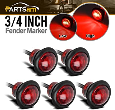 """Red 3//4/"""" 3-Wire LED Side Marker Lights with Black Grommets 1 per pack"""