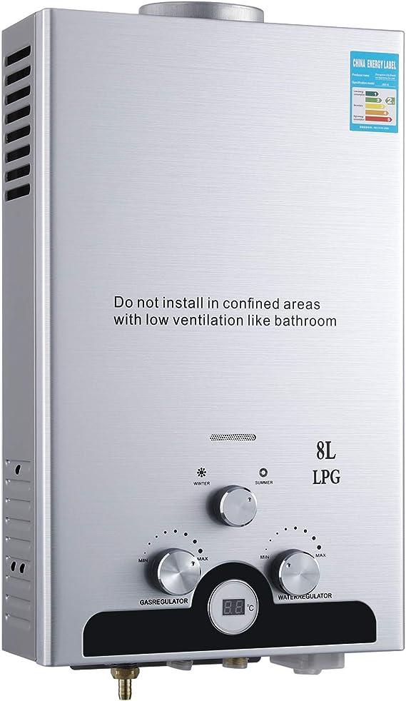 Z ZELUS 8L Calentador de Agua Butano Calentador de Agua LPG Instantáneo 16KW Calentador de Agua de Gas Licuado de Petróleo sin Tanque (8L)