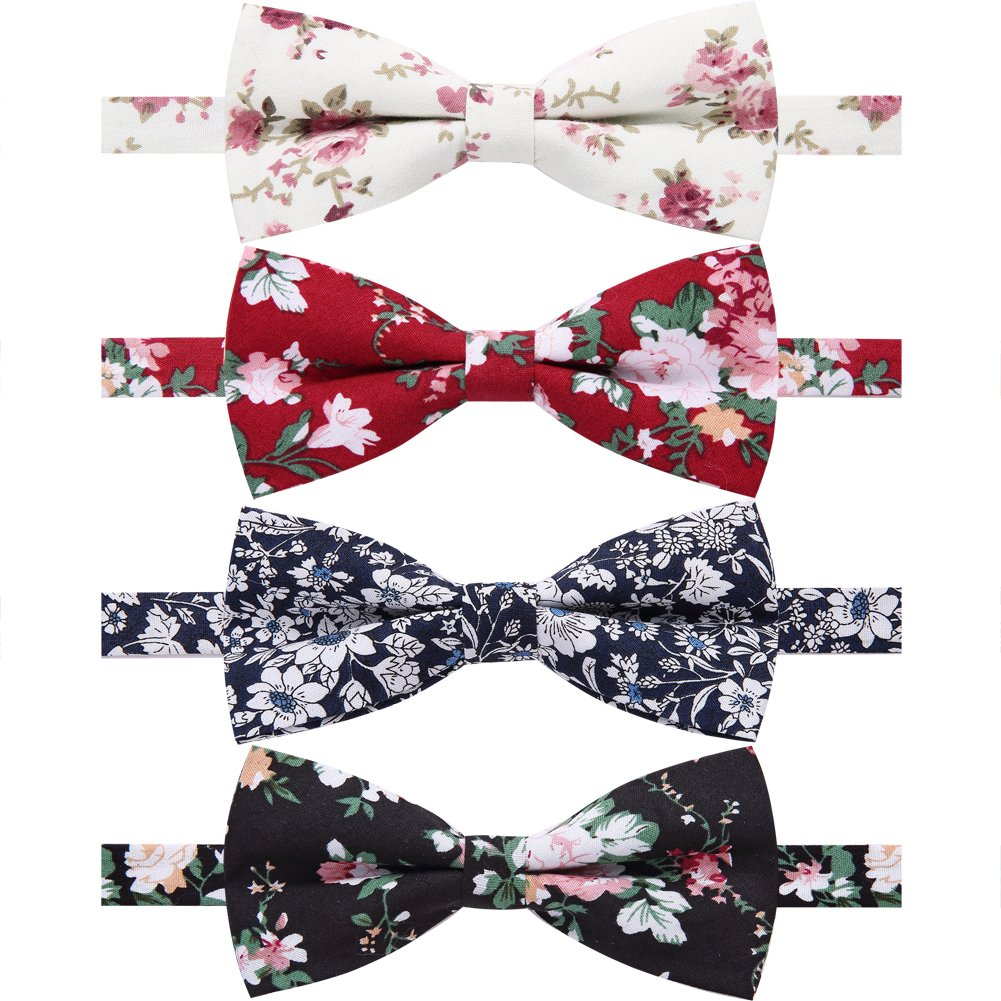 AUSKY 4 Packs Mens Adjustable Pre-tied Handmade Cotton Printed Floral bow ties (F)