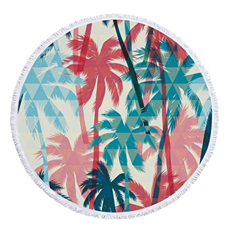 swall owuk redondas Toallas de playa BEACH Towel Tapestry – Tablecloth con plantas Pattern y borla