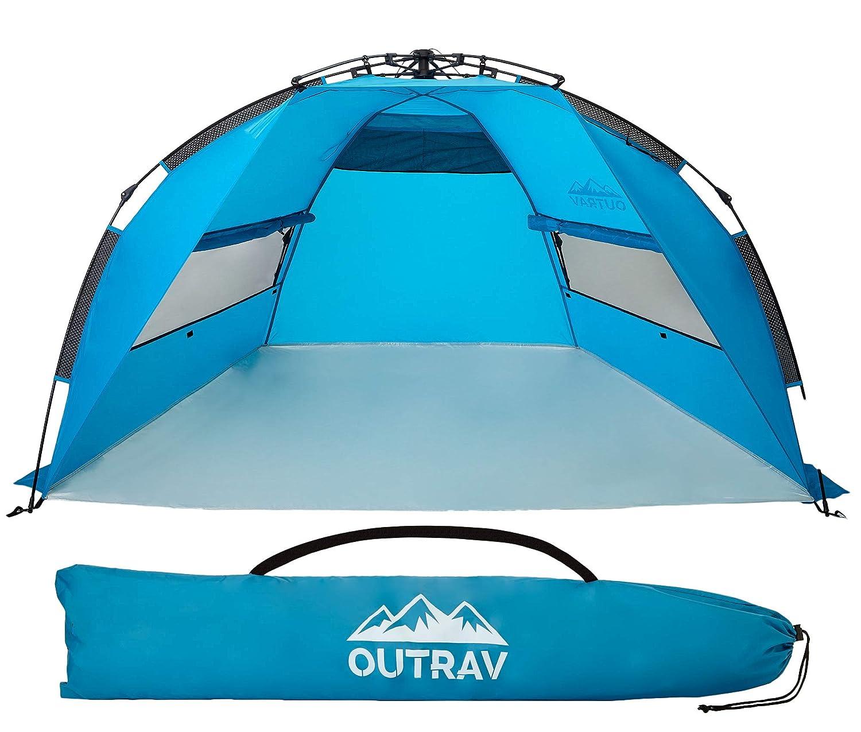 Outrav ポップアップ式ビーチテント - 素早く簡単に設置 ファミリーサイズ ポータブル 太陽と水シェルターと日よけキャノピー - 釣り キャンプ ハイキング アウトドア活動用  Beach Tent B07NKX4PR4