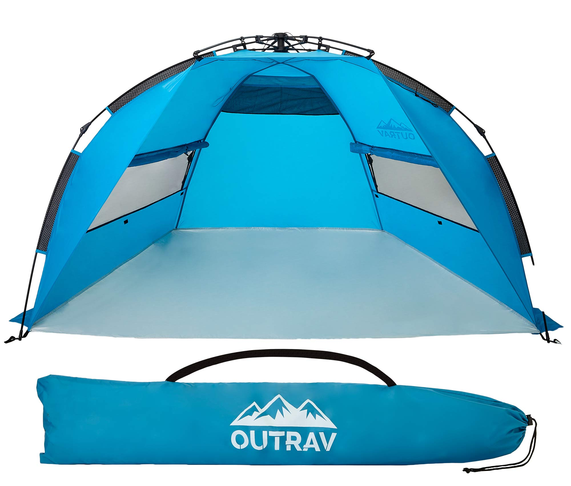 Outrav Pop Up Beach Tent - Quick and Easy Set Up, Family Size, Portable Sun and Water Shelter and Shade Canopy - for Fishing, Camping, Hiking and Outdoor Activities by Outrav