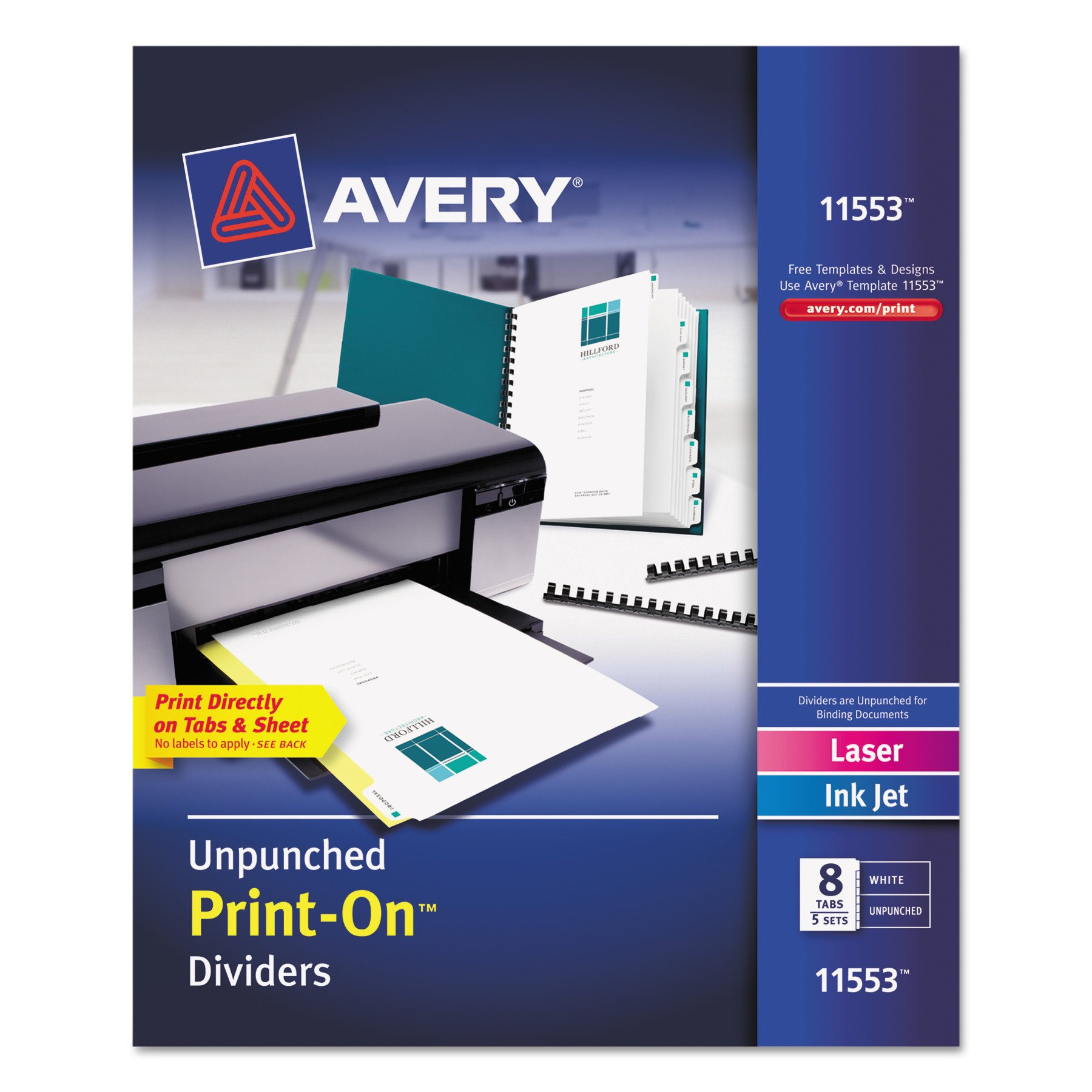 Avery Unpunched Print-On Dividers, White, 8 Tabs, 5 Sets (11553) by Avery