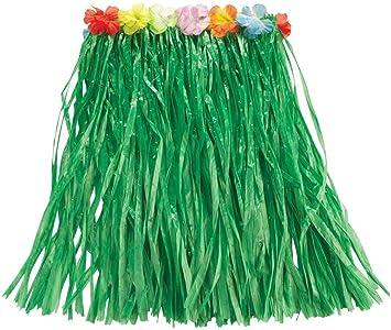 Rubies s Official - Falda Verde Hawaiana con Flores de 50 cm para ...