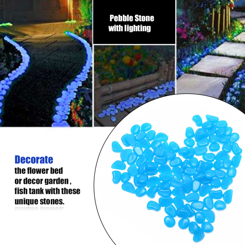 OVIAZA Glow in the Dark Pebbles,FairyGardenAccessories Landscape Rocks,Stepping Stones Outdoor Decorations for Garden,Walkways,Driveway,Path,Fish Tank Aquarium DIY Decorations Gravel
