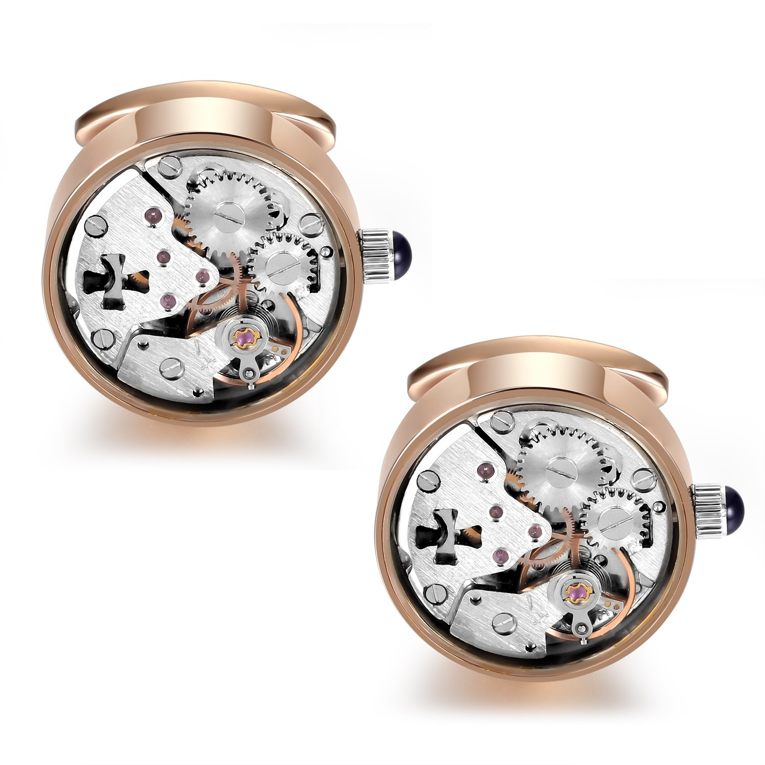 Dich Creat Rose Gold PVD Stainless Steel Hollow Out Cross Working Movement Cufflinks Covered With Glass by Dich Creat