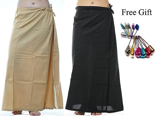 1614a2d0458 Odishabazaar Women Saree Petticoat Cotton Underskirt Lining for Sari(pack  of 2) + Free