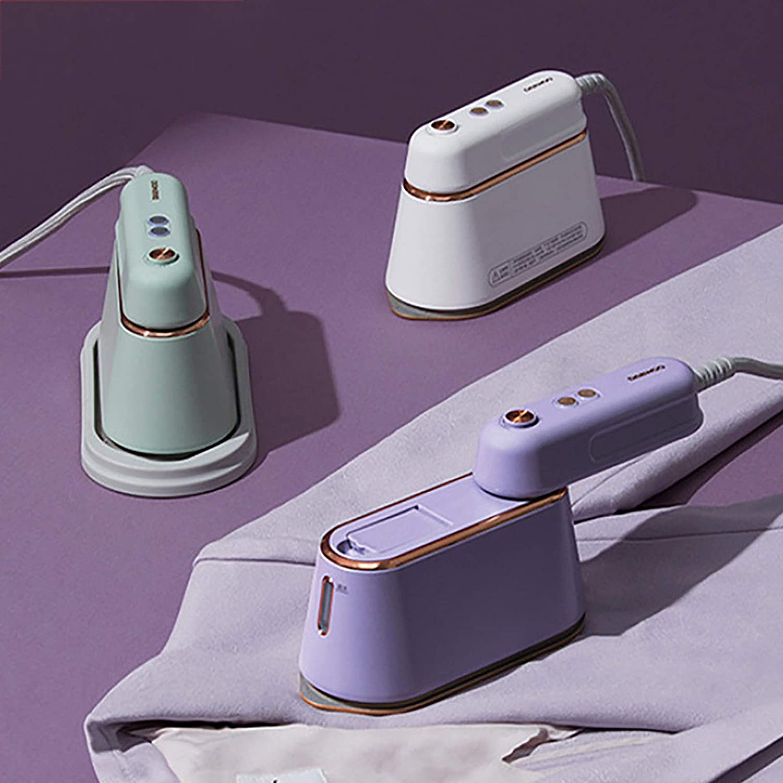 DelongKe Creative Travel Hand-Held Garment Steamer, Temperature Adjustable Mini Steam Iron Household Portable Small Ironing Machine,White Purple