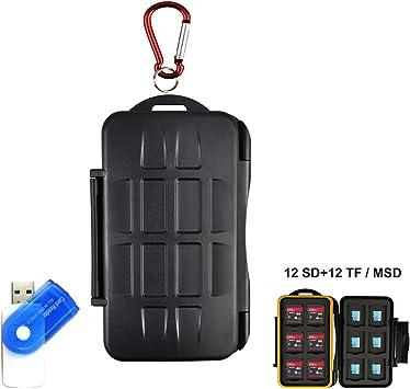 Tarjeta de memoria LXH Estuche para tarjetas SD MSD TF Tarjeta de tarjeta Micro SD Cartucho de tarjeta de cámara con mosquetón Para 12 SD y 12 TF / Micro SD: Amazon.es: Electrónica