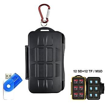 Tarjeta de memoria LXH Estuche para tarjetas SD MSD TF Tarjeta de tarjeta Micro SD Cartucho de tarjeta de cámara con mosquetón Para 12 SD y 12 TF / ...