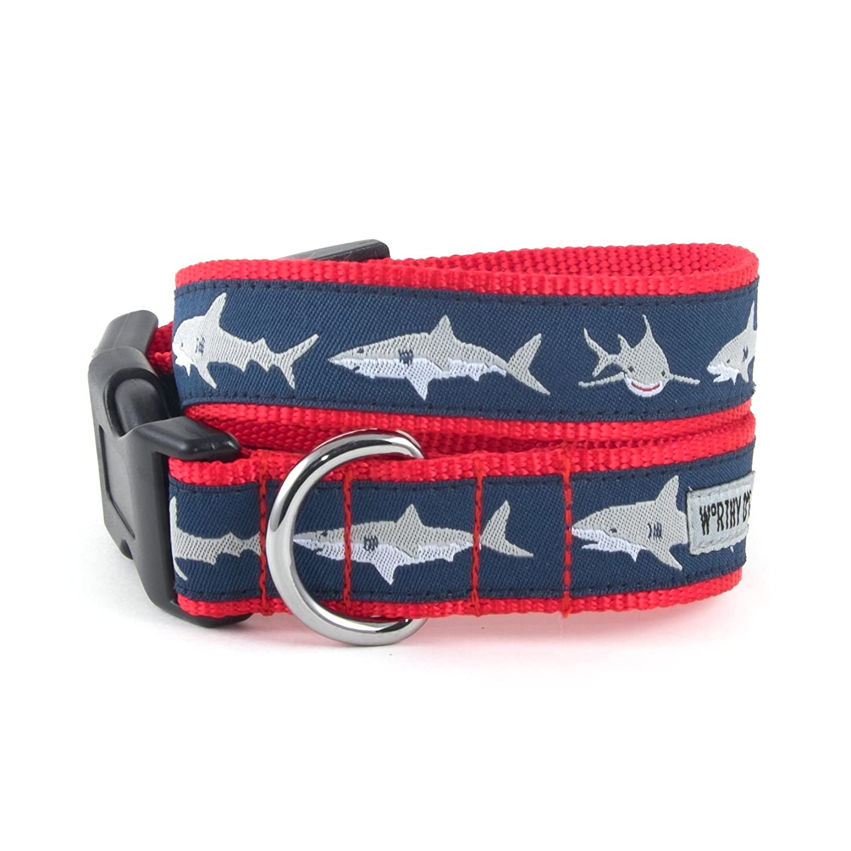 The Worthy Dog Jaws Shark Pattern Adjustable Designer Pet Dog Collar, bluee, XL