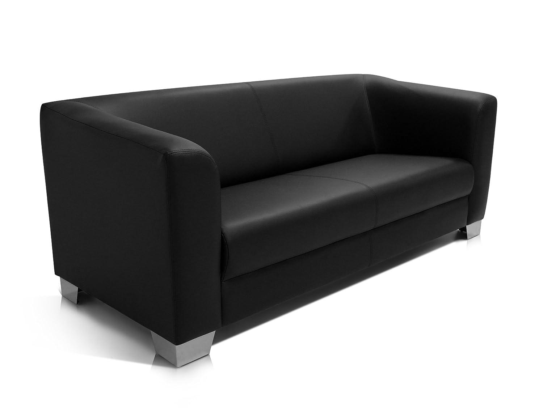 Ledersofa schwarz  CHICAGO 3er Sofa / Ledersofa, schwarz: Amazon.de: Küche & Haushalt