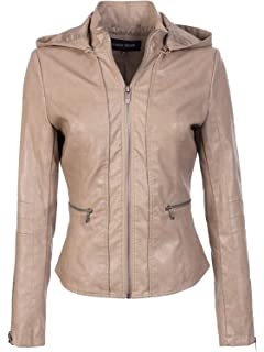 c45246bc45 Made By Johnny MBJ Womens Faux Leather Zip Up Moto Biker Jacket with ...