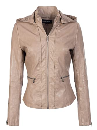 a15164befd8 Instar Mode Women s Classic Motorcycle Faux Leather Hooded Jacket Khaki XS