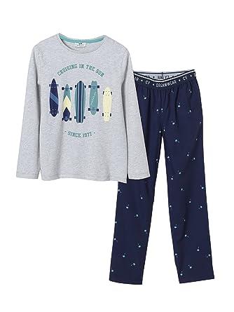 f42a65947659e7 Cyrillus Jungen-Pyjama 152 Grau/Marine Bedruckt: Amazon.de: Bekleidung