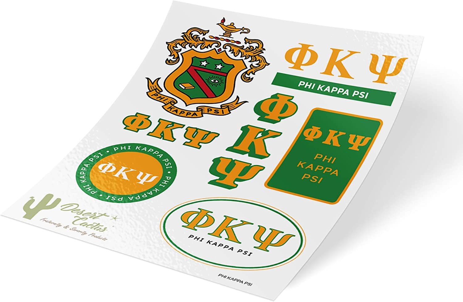 Phi Kappa Psi Standard Sticker Sheet Decal Laptop Water Bottle Car Phi Psi (Full Sheet - Standard)