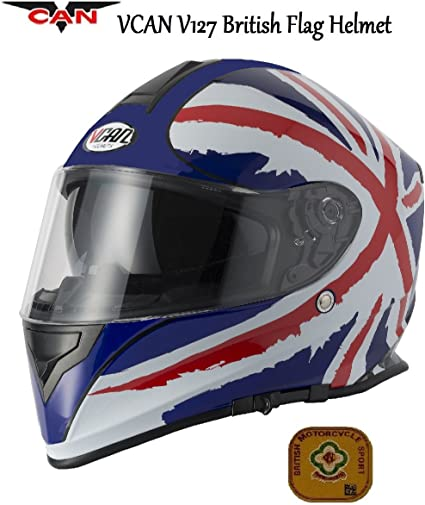 Motocicleta VCAN V127 Reino Unido Bandera británica casco ...