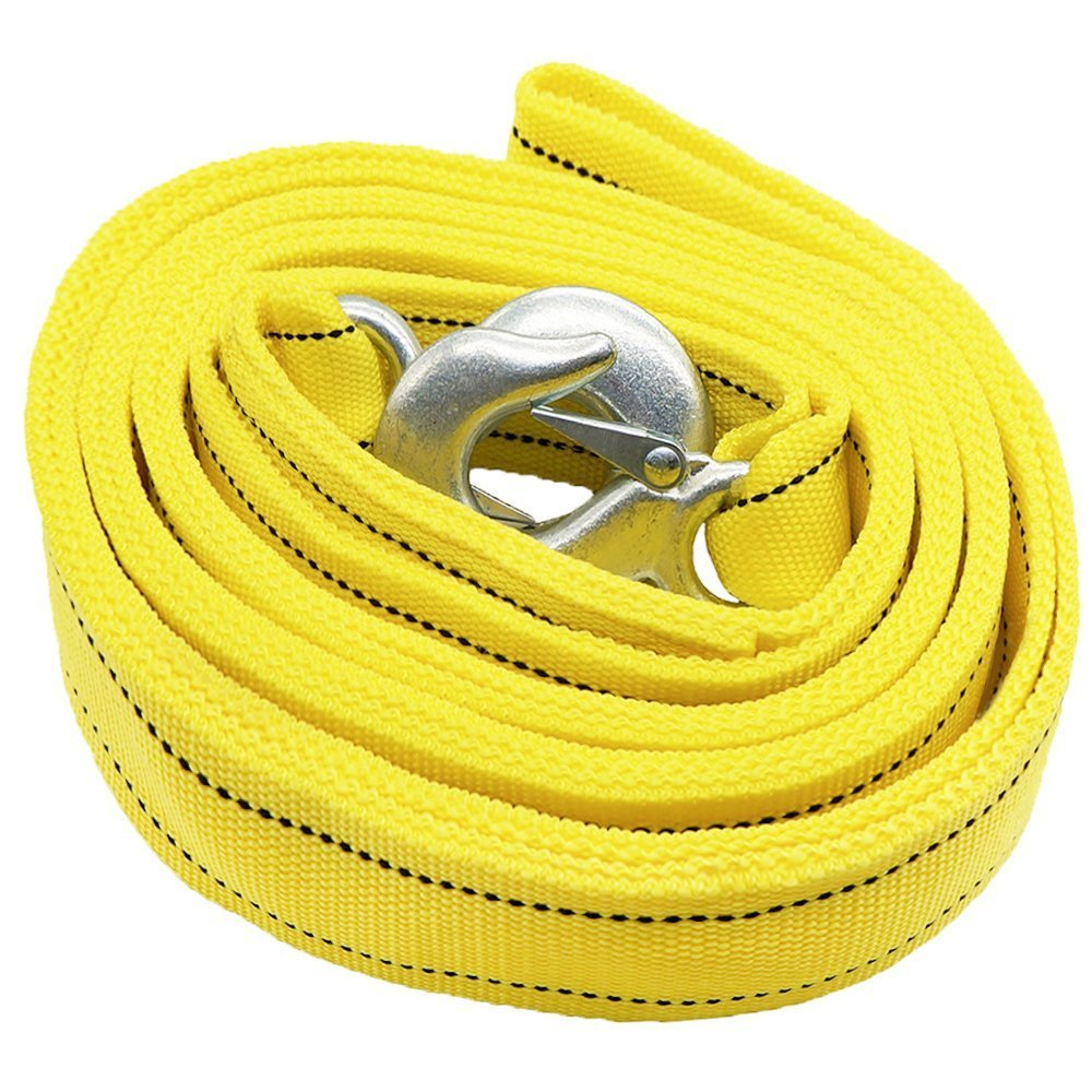 Double Thick Heavy-Duty car Towing Rope, Tow Belt Strap cable 5 Tonne, 4 Meter with Safety Steel Hooks HCL AUTO PARTS