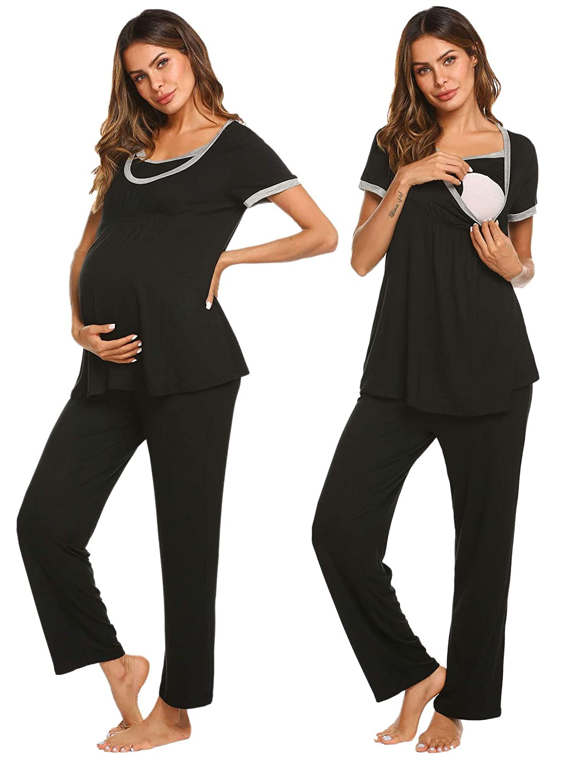 9bc1f153181c5 Ekouaer Maternity Nursing Pajama Sets Soft Short Sleeves Breastfeeding  Sleepwear EKK009787