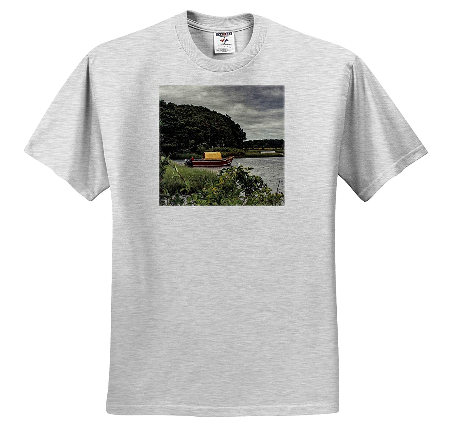 3dRose Roni Chastain Photography Red Boat T-Shirts