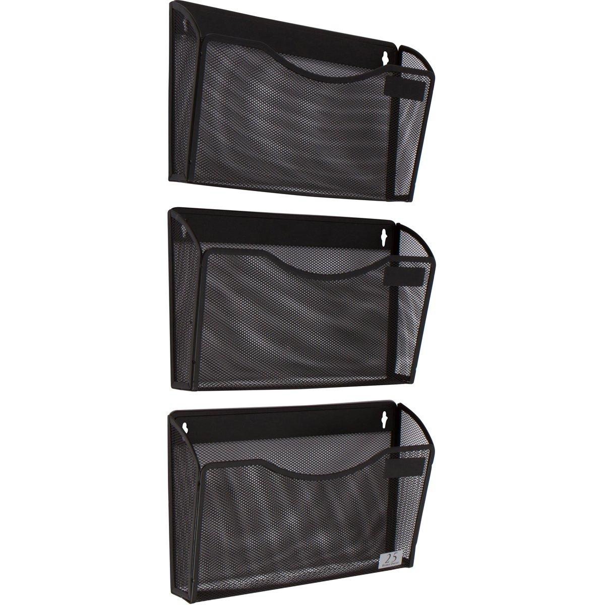 3 Pocket Wall Mount File Hanging Organizer, Metal Mesh Office Home Folder Binder Holder Magazine Mail Sorter Rack + Hardware, Black by 25 Home Decor