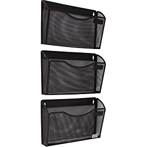 3 Pocket Wall Mount File Hanging Organizer, Metal Mesh Office Home Folder Binder Holder Magazine Mail Sorter Rack + Hardware, Black