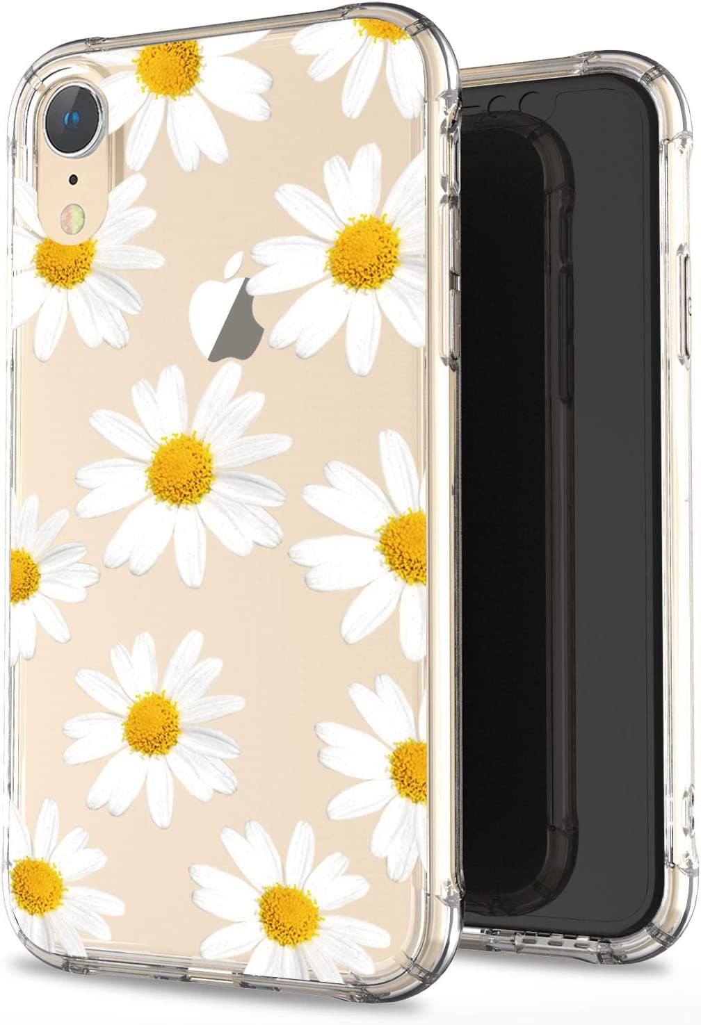 JIAXIUFEN Clear Case Cute Chrysanthemum Slim Shockproof Flower Floral Desgin Soft Flexible TPU Silicone Back Cover Phone Case for iPhone XR 2018 6.1 inch