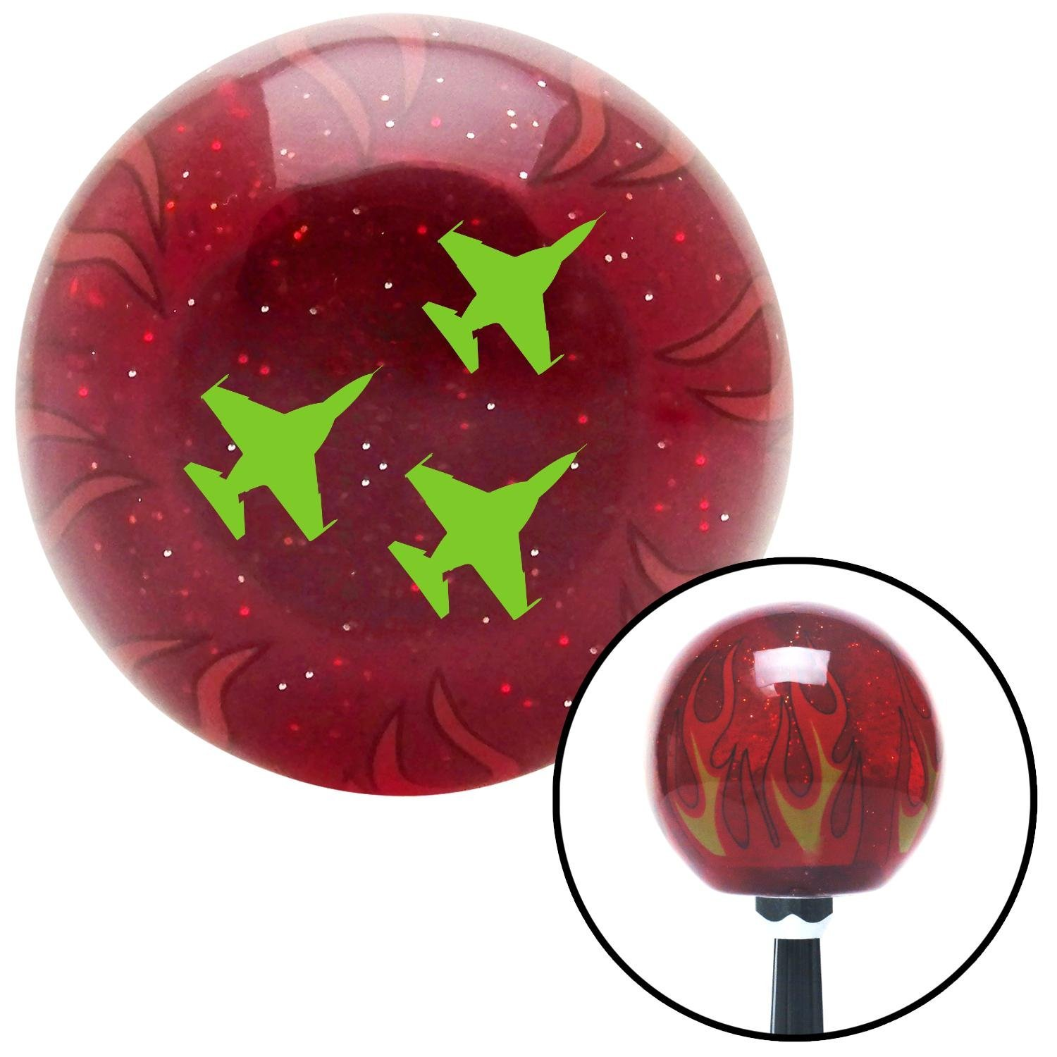 Green Jets American Shifter 241837 Red Flame Metal Flake Shift Knob with M16 x 1.5 Insert