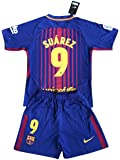 Suarez #9 Barcelona 2017-18 Kids/Youths Home Soccer Jersey & Shorts