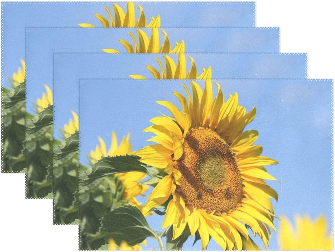 Promini Heat-Resistant Placemats, Sunflower Blue Yellow Flower France Washable Polyester Table Mats Non Slip Washable Placemats for Kitchen Dining Room Set of 4