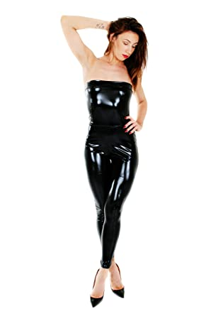 bf5346f6fc Women s PVC Wet Look Catsuit - Sexy Jumpsuit Clubwear Bodycon Black  Bodysuit Skinny Fit UK Seller  Amazon.co.uk  Clothing