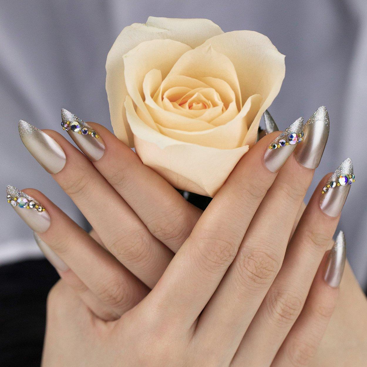 ArtPlus Diamond False Nails Kit Stiletto Bridal Silver Glitter with Crystal Full Cover with Glue 24pcs Fake Nails Art Plus