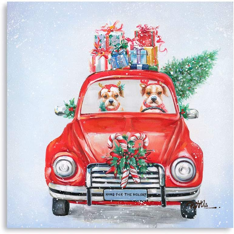 "Red Truck Christmas Decor: Cute Dogs Driving Red Truck Carrying Christmas Tree and Presents Canvas Wall Art for Living Room Ready to Hang (24""x24""x1 Panel)"