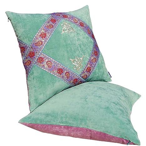 Cojines decorativos con ante árabes cojín verde 48,26 cm ...