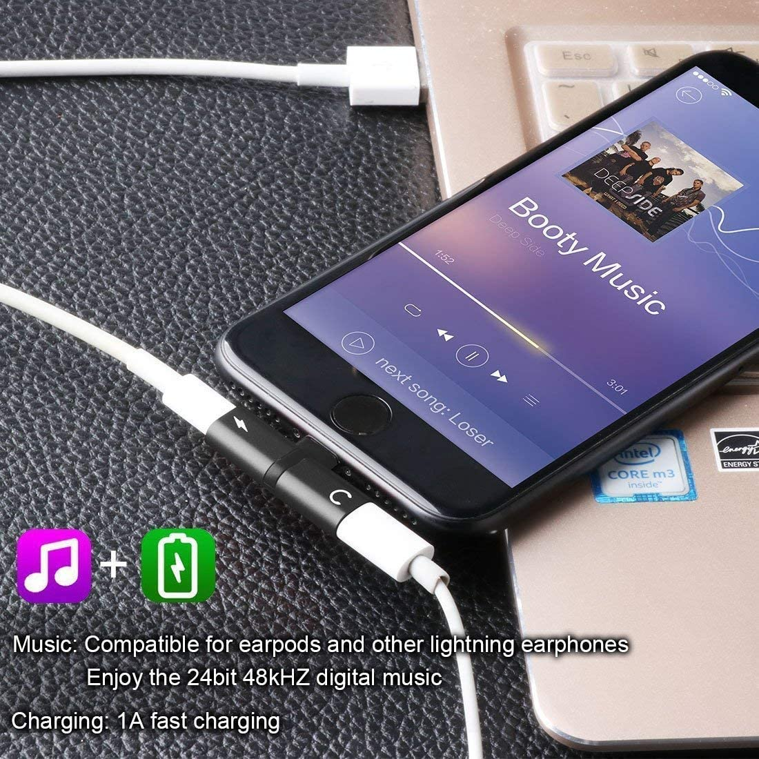X Splitter Compatible with iPhone 7 iPad,iPad Pro 8 Plus Sync,Music Control Charge Cable Adapter,Work with iOS 12 or Later 2 in 1 Dual Headphone Jack Audio 7 Plus 8