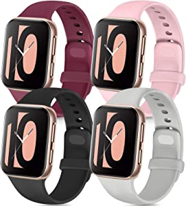 Tobfit 4 Pack Compatible with Apple Watch Band 38mm 42mm 40mm 44mm, Soft Silicone Replacement Band Compatible with iWatch Series 6 5 4 3 SE (Black/Gray/Wine Red/Pink, 42mm/44mm S/M)