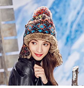 J L Tide Female Korean Winter hat Ear Cap Thickening Blending Wool hat Hair  Ball Jacquard Knit a47efb6740e