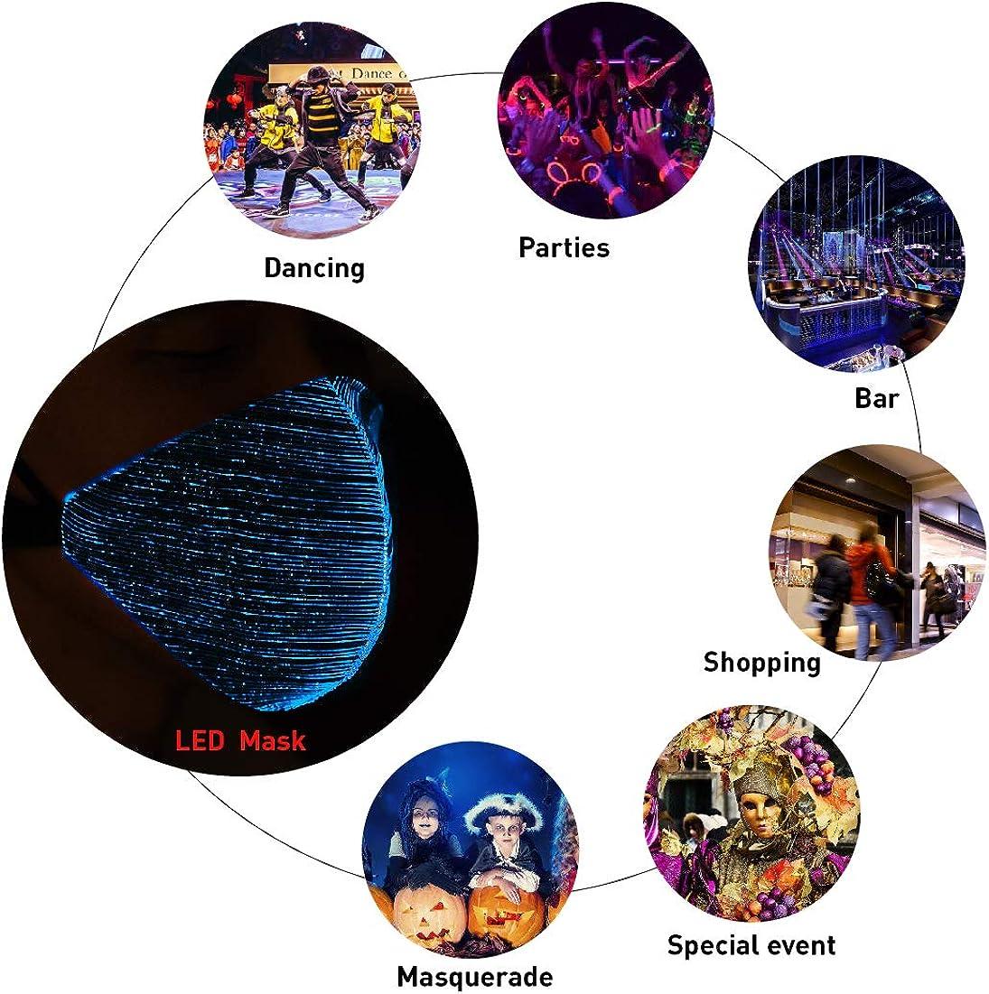 AIRAVATA Unisexe Costumes Masques Mode Danse Party Bar Halloween LED Lumineux /Éclairer Masque Pour Le Visage pour Hommes Femmes