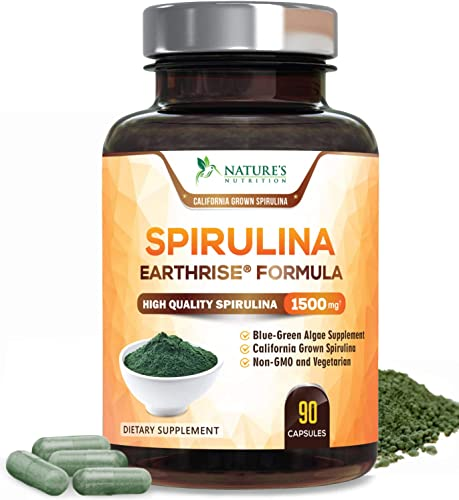 Spirulina Capsules 1500mg – High Quality Spirulina Supplement – Natural Antioxidant Fatty Acids Pills – Superfood Rich in Minerals Vitamins – Non-Irradiated, Non-GMO – 90 Capsules