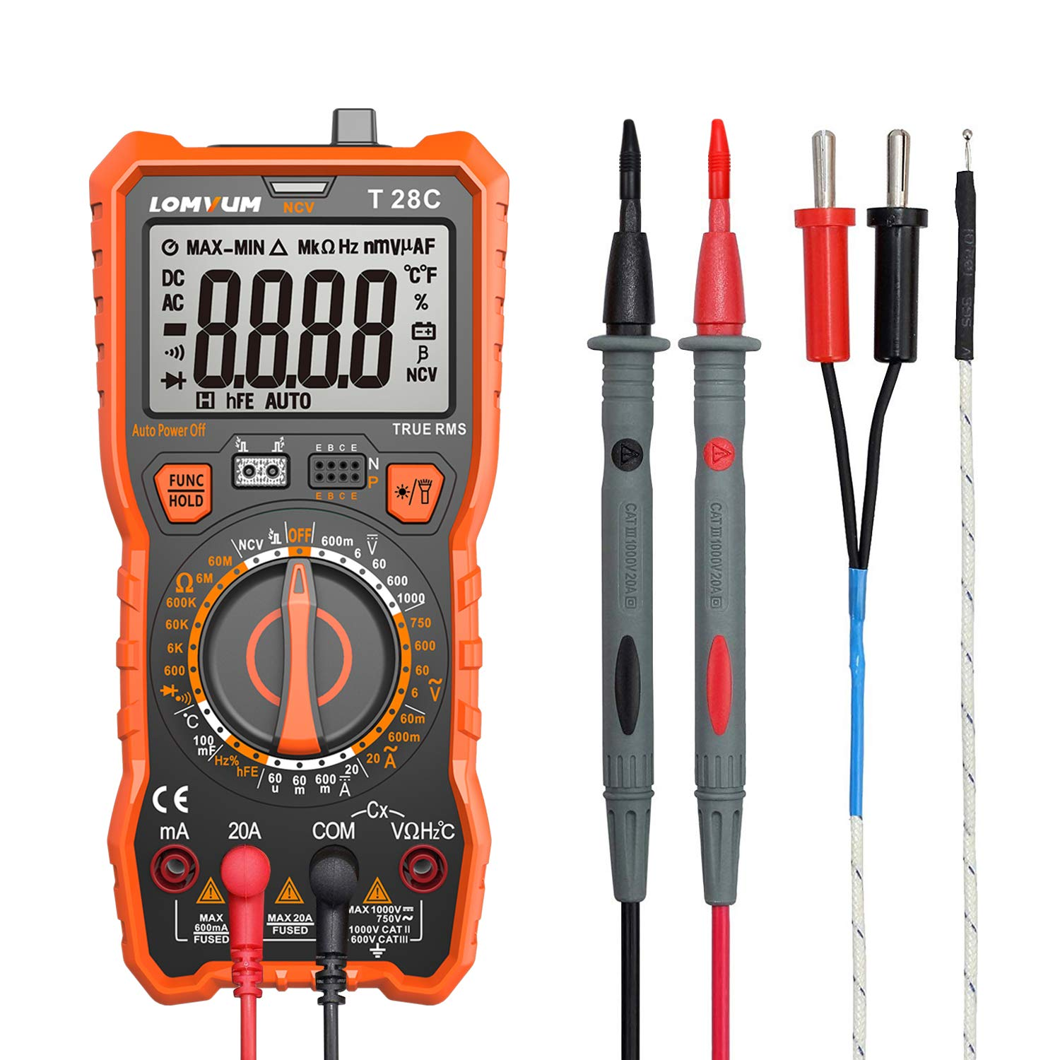 Manual-Ranging Digital Multimeter, 6000 Counts Electrical Tester AC/DC Voltage Current Detector, NCV, Resistance, Capacitance, Diode Electronic, Duty Cycle Tester, 2.7 Inch LCD T28C