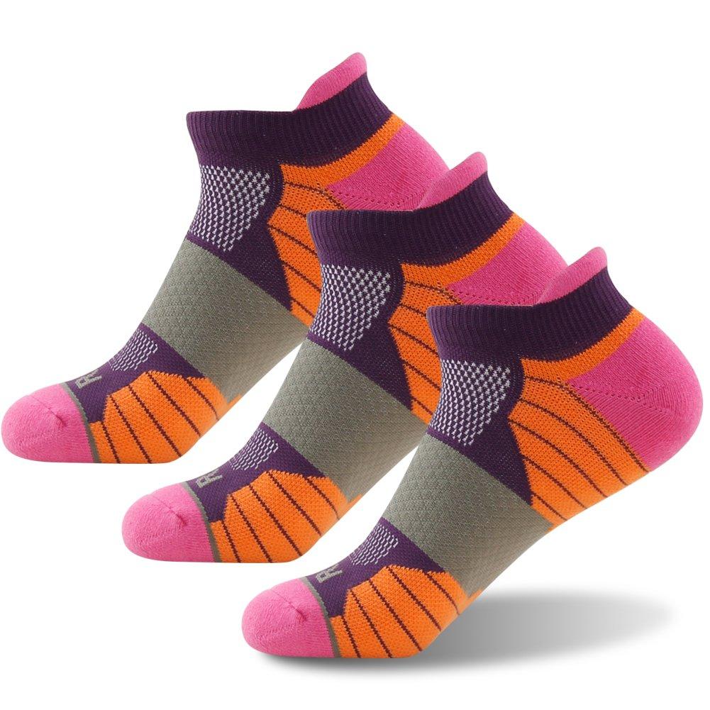 Getspor Sports Performance Cushion Cycling Socks, Women's Men's Colorful Cotton Comfort Padding Sole Thick Warm Biking Running Hiking Athletic Liner Socks Low Cut Purple Orange Pink, 3 Pairs by Getspor