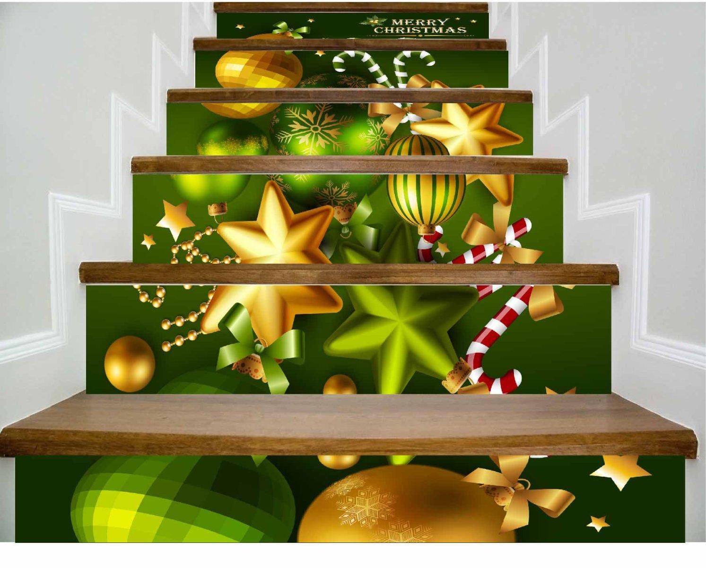 QTZS 3D Weihnachtstreppe Dekoration DIY Renovierung Wandaufkleber 6 ...