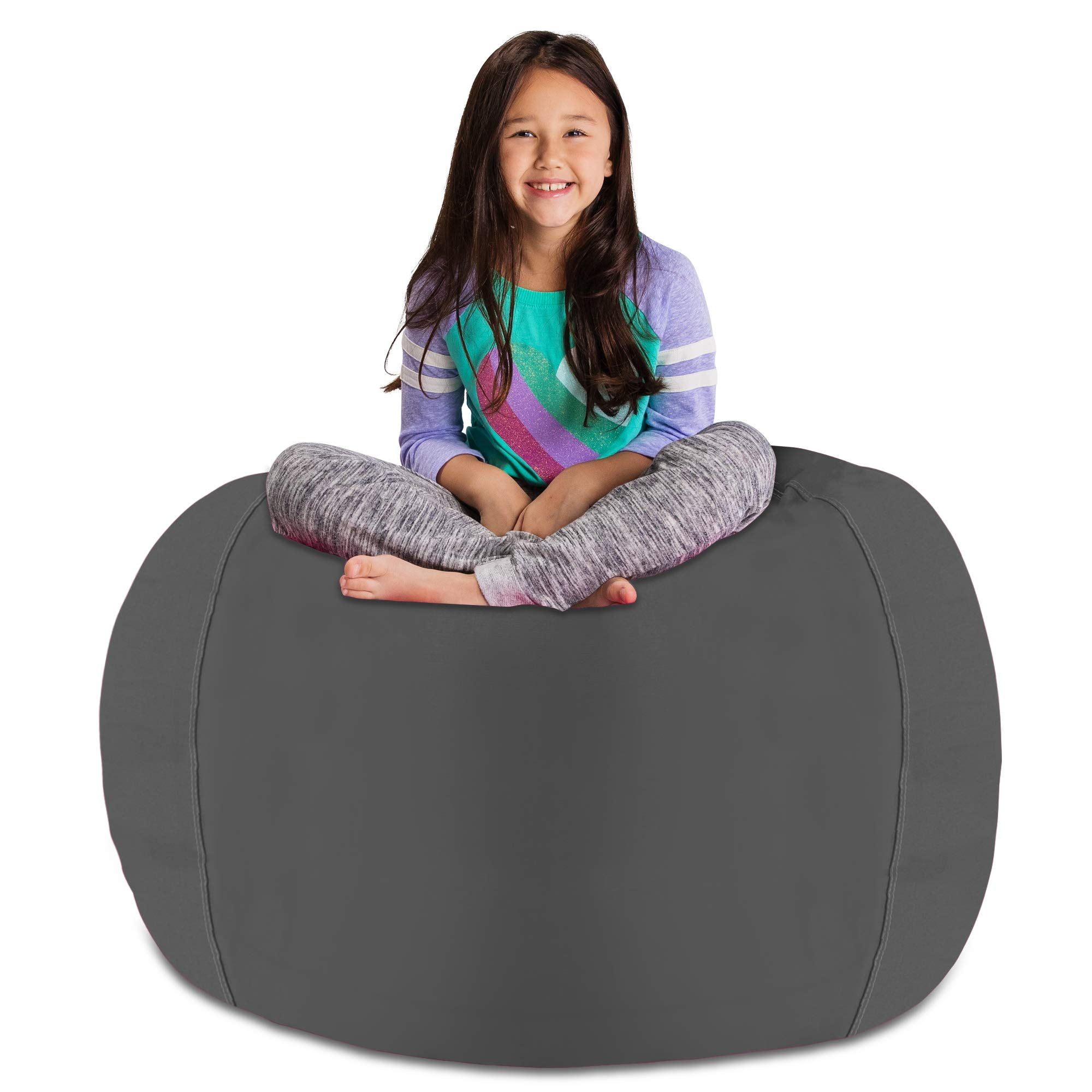Posh Stuffable Kids Stuffed Animal Storage Bean Bag Chair Cover - Childrens Toy Organizer, X-Large 48'' - Heather Gray by Posh Stuffable
