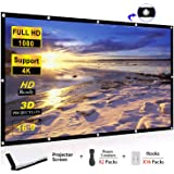 WOWOTO 100 inch Projection Screen 16:9 HD Foldable Anti-Crease Portable Projector Movies Screen for Home Theater Outdoor Indoor Support Double Sided Projection