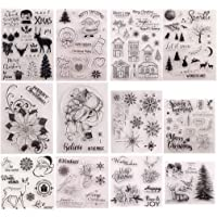 12 Sets Kerst Bloem Perfect Clear Stempel, Vriendelijke Zinnen Afbeelding Beste Wensen Gefeliciteerd Duidelijke Stempels…