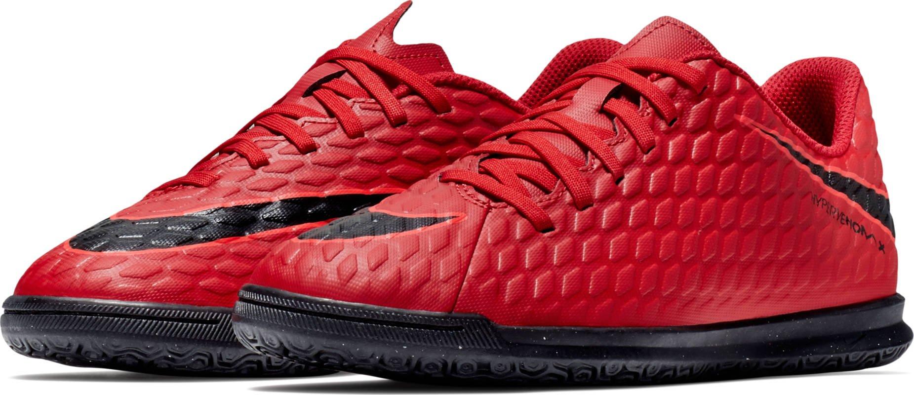 NIKE Kids' Hypervenom Phade III Indoor Soccer Shoes (5, Red/Black)