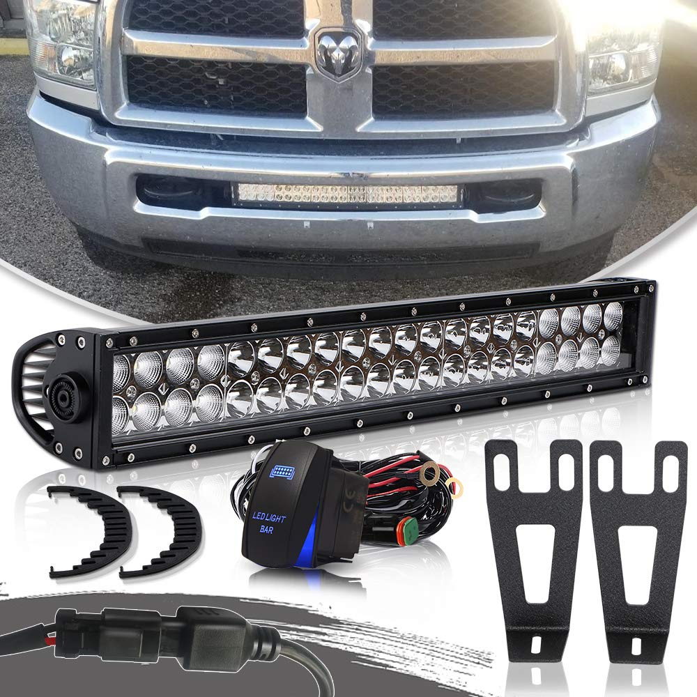 20-22' Inch Straight Led Light Bar Combo Fog Lamps Off Road Driving Light + Hidden Front Bumper Mount Mounting Brackets + DT Wiring Harness Kits Rocker Switch For 2010-2018 Dodge Ram 2500 3500 TURBOSII