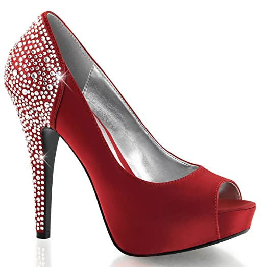 Amazon.com | Womens Deep Red Peep Toe Pumps Shoes with Rhinestone ...